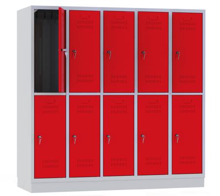 00150441 Szafa szkolna, 5 segmentów, 10 drzwi (wymiary: 1500x1480x480 mm)
