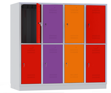 00150445 Szafa szkolna, 4 segmenty, 8 drzwi (wymiary: 1500x1590x480 mm)
