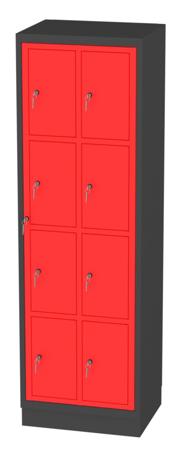00150510 Szafa skrytkowa z drzwiami centralnymi, 2 segmenty, 8 skrytek (wymiary: 1950x610x480 mm)