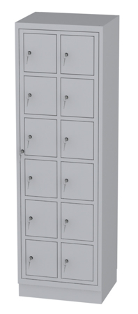 00150512 Szafa skrytkowa z drzwiami centralnymi, 2 segmenty, 12 skrytek (wymiary: 1950x610x480 mm)