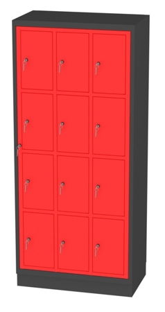00150513 Szafa skrytkowa z drzwiami centralnymi, 3 segmenty, 12 skrytek (wymiary: 1950x865x480 mm)