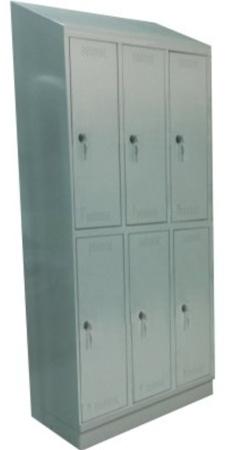 00150536 Szafa skrytkowa z daszkiem, 3 segmenty, 6 skrytek (wymiary: 2135x900x480 mm)