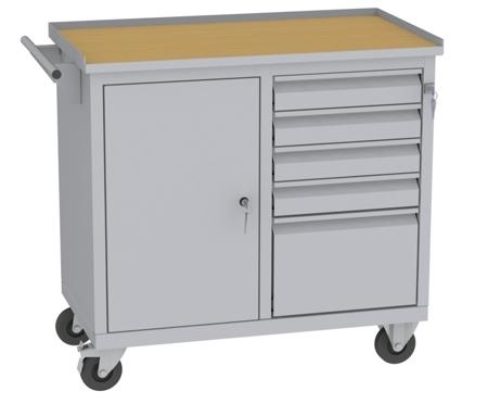 00150648 Wózek narzędziowy, 1 drzwi, 5 szuflad (wymiary: 860x950x505 mm)