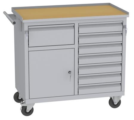 00150651 Wózek narzędziowy, 1 drzwi, 8 szuflad (wymiary: 860x950x505 mm)