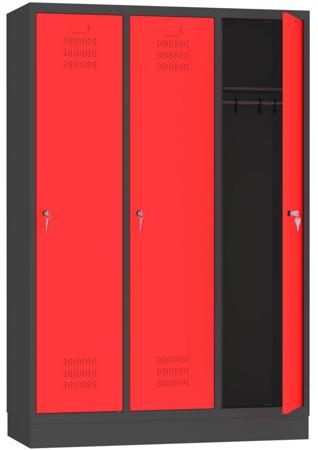 00153623 Szafa ubraniowa bez przegrody, 3 segmenty, 3 drzwi (wymiary: 1800x1200x480 mm)