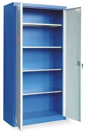 00853910 Szafa uniwersalna z 4-ma półkami z blachy ocynkowanej, 2 drzwi (wymiary: 1800x800x380 mm)