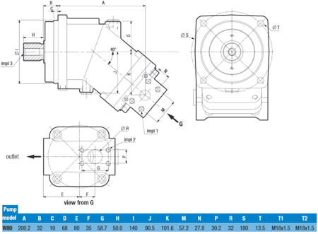 01539160 Pompa hydrauliczna tłoczkowa o stałej wydajności Hydro Leduc W80 (objętość geometryczna: 80,4 cm³, maksymalna prędkość obrotowa: 1800 min-1 /obr/min)
