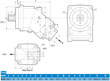 01539162 Pompa hydrauliczna tłoczkowa o stałej wydajności Hydro Leduc W108 (objętość geometryczna: 108 cm³, maksymalna prędkość obrotowa: 1600 min-1 /obr/min)