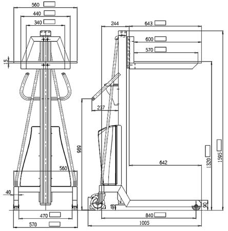 0301628 Wózek podnośnikowy elektryczny platformowy PS-E150A (udźwig: 150 kg)