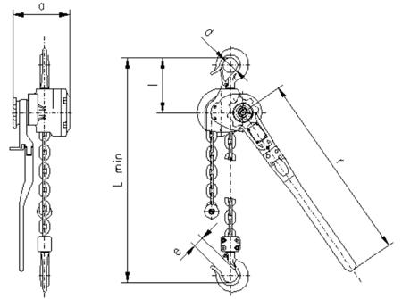 2202554 Wciągnik dźwigniowy z łańcuchem ogniwowym RZC/3.2t (wysokość podnoszenia: 2,5m, udźwig: 3,2 T)