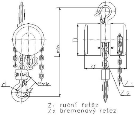 2202702 Wciągnik łańcuchowy z przekładnią planetarną Z100/5.0t (wysokość podnoszenia: 3m, udźwig: 5 T)