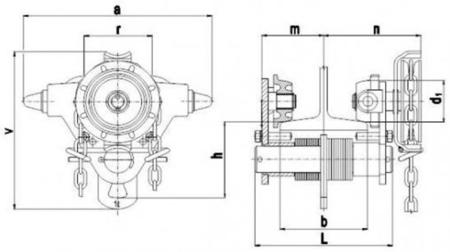 22038958 Wózek jedno-belkowy z napędem ręcznym Z420-A/1.0t/5m (wysokość podnoszenia: 5m, szerokość dwuteownika od: 50-113mm, udźwig: 1 T)