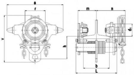 22038960 Wózek jedno-belkowy z napędem ręcznym Z420-A/1.0t/7m (wysokość podnoszenia: 7m, szerokość dwuteownika od: 50-113mm, udźwig: 1 T)