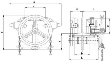 22038971 Wózek jedno-belkowy z napędem ręcznym Z420-A/1.6t/4m (wysokość podnoszenia: 4m, szerokość dwuteownika od: 58-113mm, udźwig: 1,6 T)