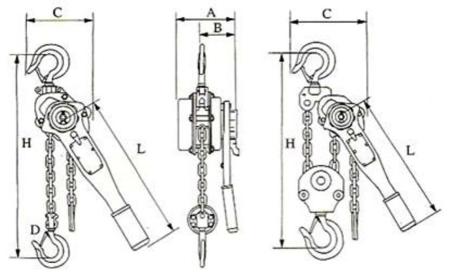 22043660 Wciągnik łańcuchowy z dźwignią ZKS 6,0 3M (wysokość podnoszenia: 3m, udźwig: 6 T)