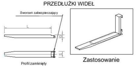 29016490 Przedłużki wideł udźwig 5000kg (1500mm)