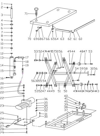 31046313 Stół podnośny elektryczny HW1006 (wymiary platformy: 1000x2000mm, udźwig: 1000 kg)