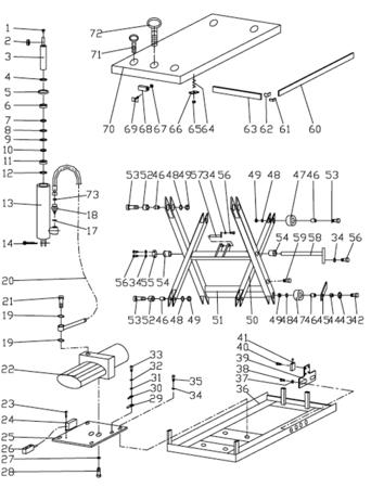 3109776 Stół podnośny elektryczny HW4002 (wymiary platformy: 1200x2000mm, udźwig: 4000 kg)
