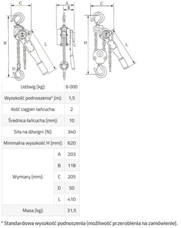 33917046 Wciągnik łańcuchowy GKS 6,0 (udźwig: 6000 kg, wysokość podnoszenia: 3 m)