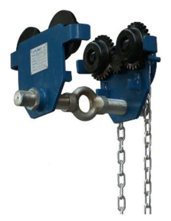 33917063 Wóżek do podwieszania i przesuwania wciągników po dwuteowniku POB 5 (udźwig: 5 T, szerokość profilu: 90-220 mm)