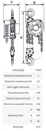 33938955 Wciągnik łańcuchowy ZBE 5,0 (udźwig: 5000 kg, wysokość podnoszenia: 3 m)