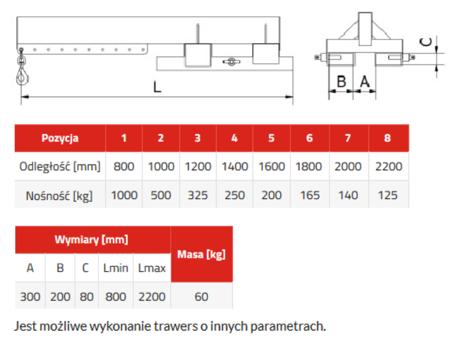33948657 Trawers do wózka widłowego miproFork TWZ-S 1000 (udźwig: 1000 kg)