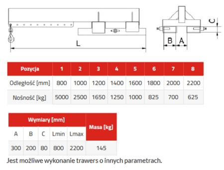 33948661 Trawers do wózka widłowego miproFork TWZ-S 5000 (udźwig: 5000 kg)