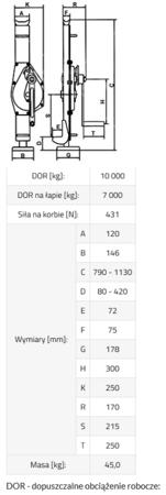 3398504 Podnośnik mechaniczny BSI 10 (udźwig: 10000/7000 kg)