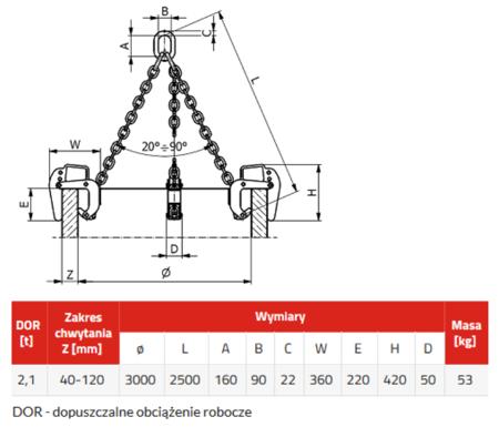 3398555 Zawiesie łańcuchowe 3-cięgnowe zakończone uchwytami do podnoszenia kręgów betonowych GDA 2,1 (udźwig: 2,1 T, zakres chwytania: 40-120 mm)