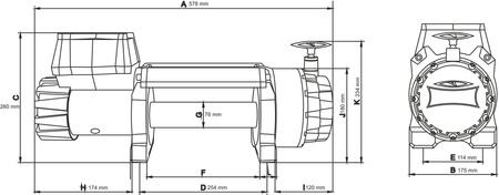 55925177 Wyciągarka samochodowa Dragon Winch Highlander DWH 9000 HD 12V, z liną stalową 28m, hamulec dynamiczny (udźwig: 9000 lb/ 4082 kg, silnik: 9KM)