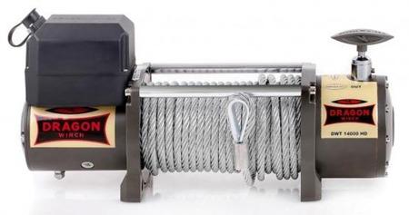 55925181 Wyciągarka samochodowa Dragon Winch Truck DWT 14000 HD 12V - wersja ze sterowaniem na silniku, z liną stalową 28m, hamulec dynamiczny (udźwig: 14000 lb/ 6350 kg, silnik: 7,8KM)