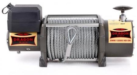 55946637 Wyciągarka samochodowa Dragon Winch Maverick DWM 12000 HD EN 12V hamulec dynamiczny, z normą EN 14492-1 z liną stalową 30m (udźwig: 12000 lb/ 5443 kg, silnik: 7,8KM)