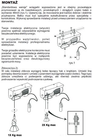 55951164 Wyciągarka linowa elektryczna Industrial 400/800 230V, hamulec automatyczny (udźwig: 400/800 kg) + wózek elektryczny 1T