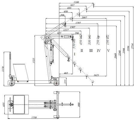 6177835 Żuraw hydrauliczny ręczny z przeciwwagą (udźwig: od 150 do 550kg)