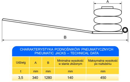 62725788 Podnośnik pneumatyczny - bałwanek (udźwig: 3,5T)