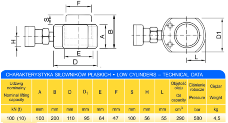62754000 Siłownik płaski (wysokość podnoszenia min/max: 100-200mm, udźwig: 10T)