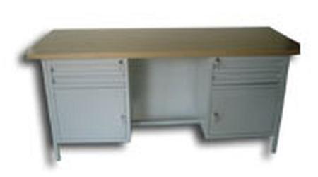 77156888 Stół warsztatowy dwustanowiskowy, 4 szuflady, 2 szafki (wymiary: 2000x750x900 mm)
