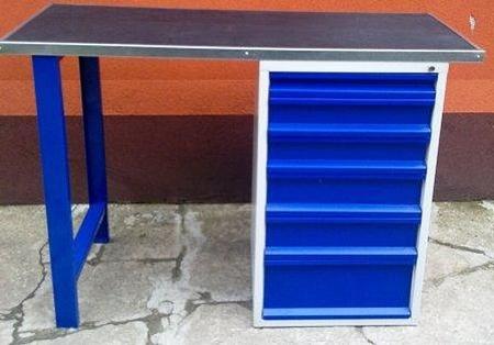 77156940 Stół warsztatowy, 6 szuflad (wymiary: 1500x600x1030 mm)