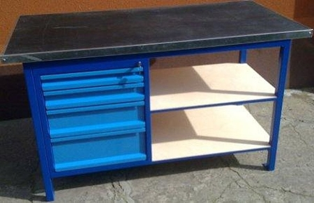 77156966 Stół warsztatowy, 4 szuflady, 2 półki (wymiary: 1500x750x900 mm)