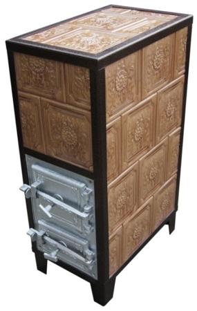 92238182 Piec grzewczy kaflowy 9,5kW Retro czterowarstwowy na drewno i węgiel (kolor: zieleń)