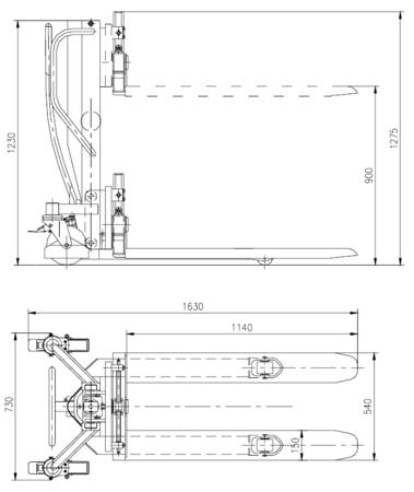 99724828 Wózek paletowy podnośnikowy z przechyłem GermanTech Ergo – Manuell (max wysokość: 900 mm, udźwig: 800 kg, długość wideł: 1140 mm)