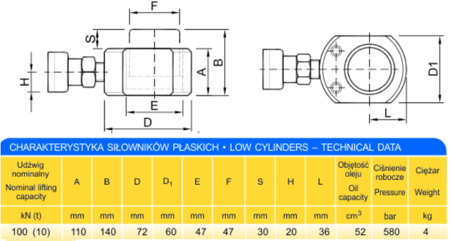 DOSTAWA GRATIS! 62753998 Siłownik płaski (wysokość podnoszenia min/max: 110-140mm, udźwig: 10T)