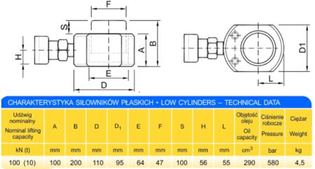 DOSTAWA GRATIS! 62754000 Siłownik płaski (wysokość podnoszenia min/max: 100-200mm, udźwig: 10T)