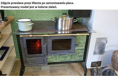 DOSTAWA GRATIS! 92238170 Kuchnia kaflowa 11kW Dominika z szybą i wężownicą (kolor: zieleń)
